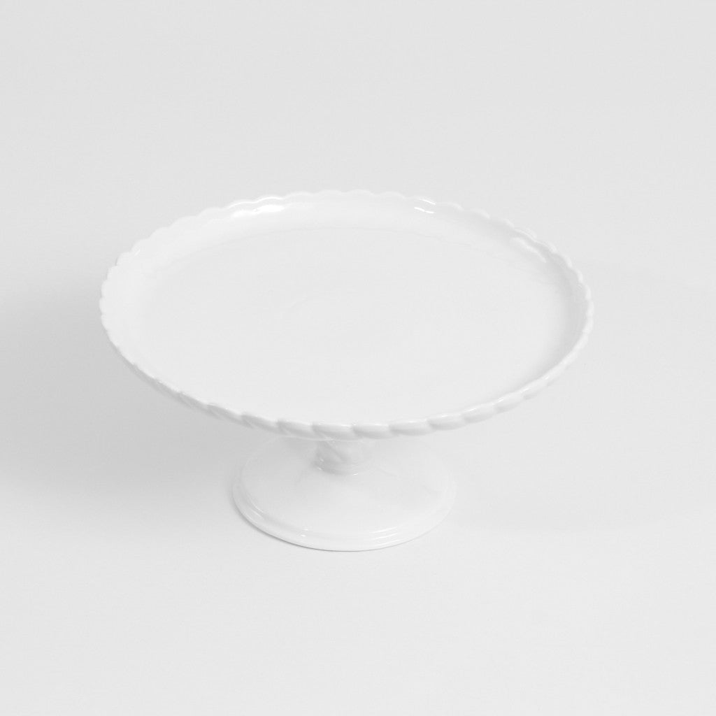 Cake Stand- Small White Scalloped