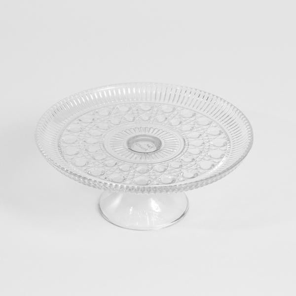 Cake Stand- Etched Clear Glass Pedestal