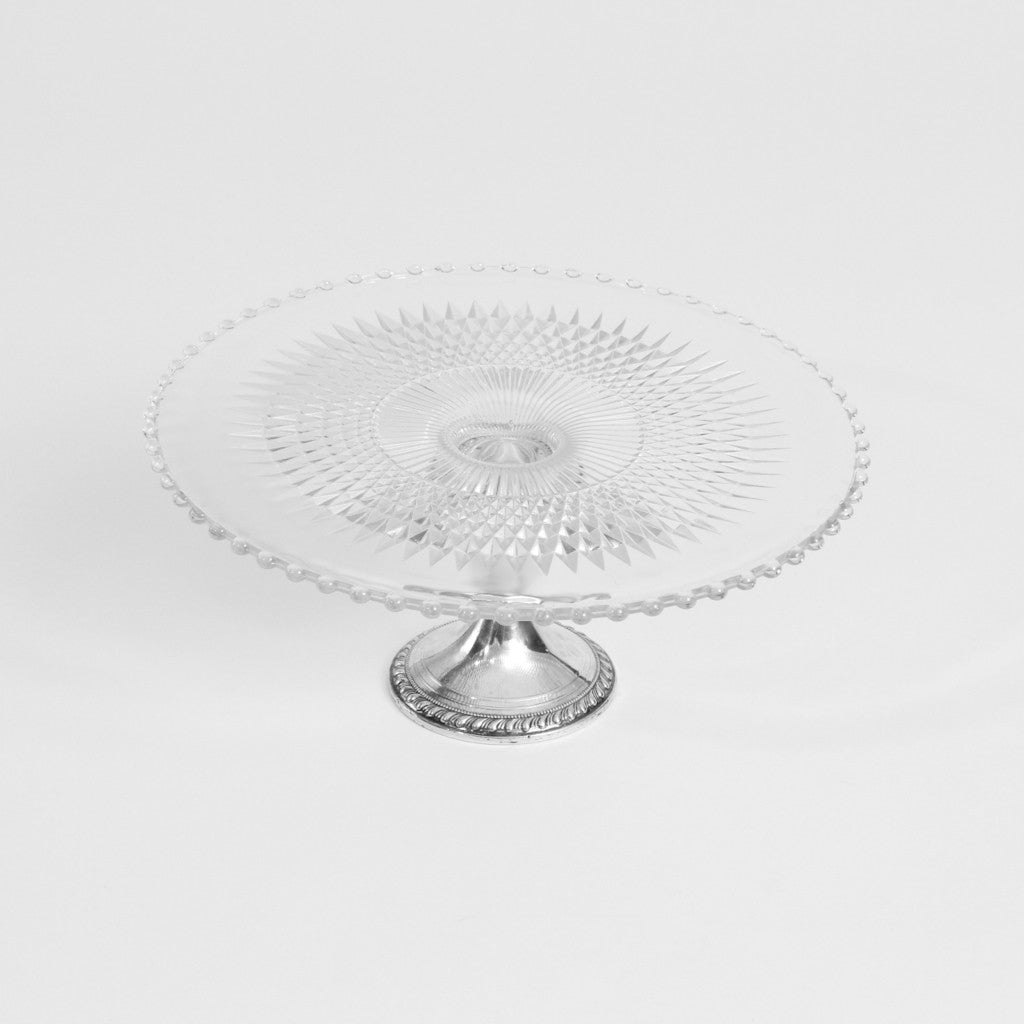 Cake Stand- Glass with Silver Base