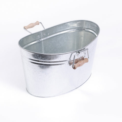 Medium Oval Galvanized Tub with Wooden Handles
