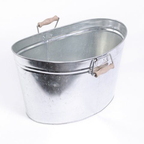 Large Oval Galvanized Tub with Wooden Handles