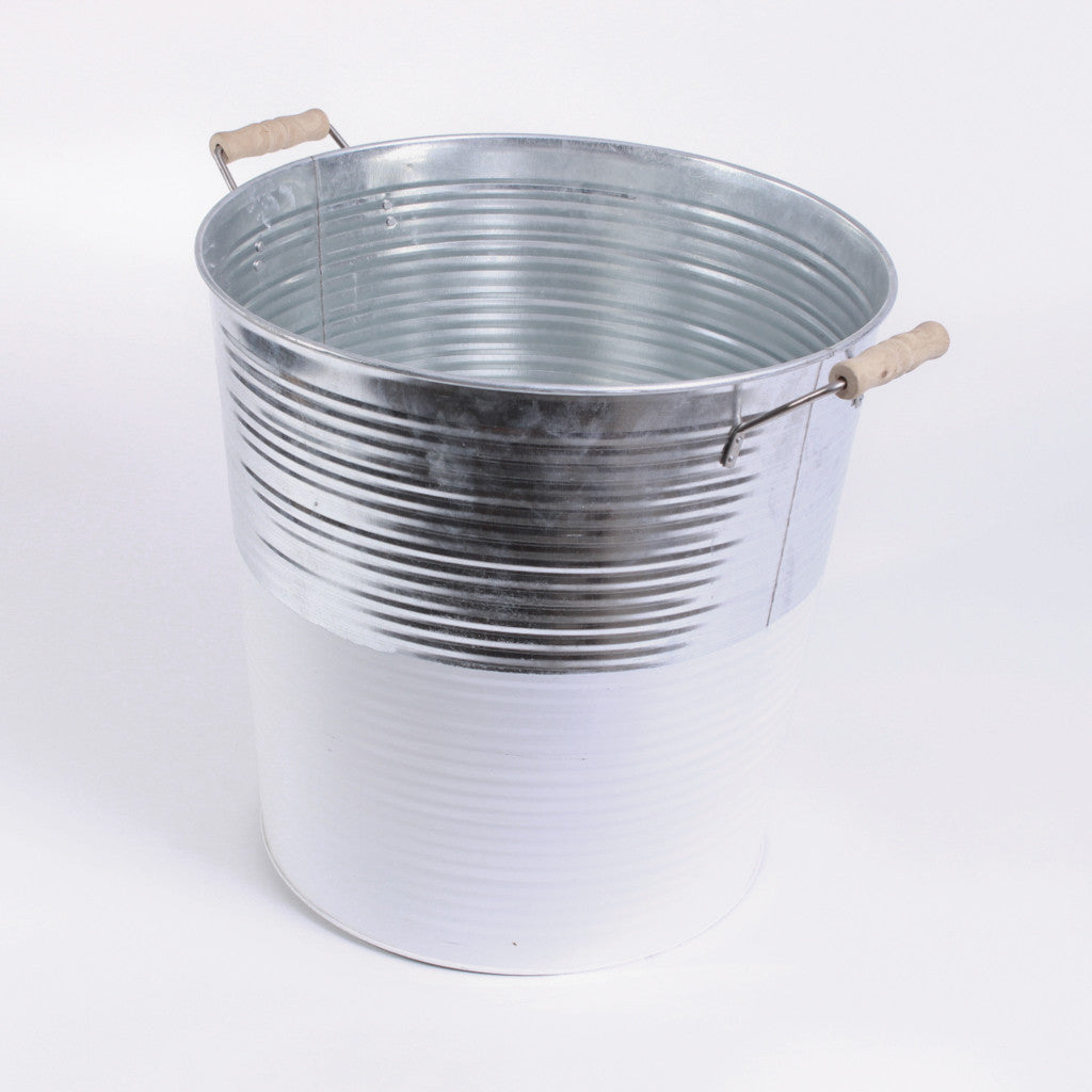 Galvanized Tub - Silver and White