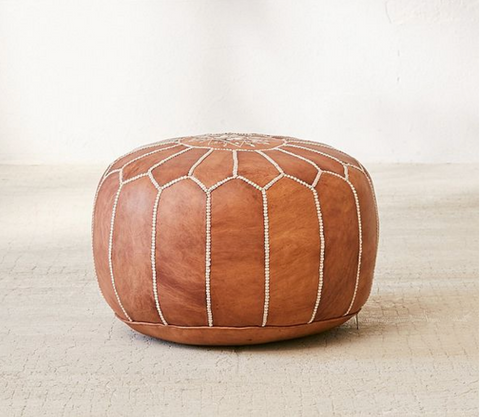 Brown Leather Floor Pouf