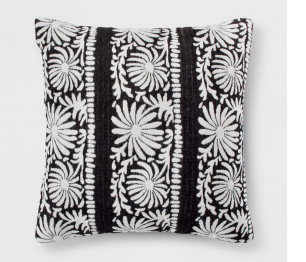 Black Floral Embroidery Pillow