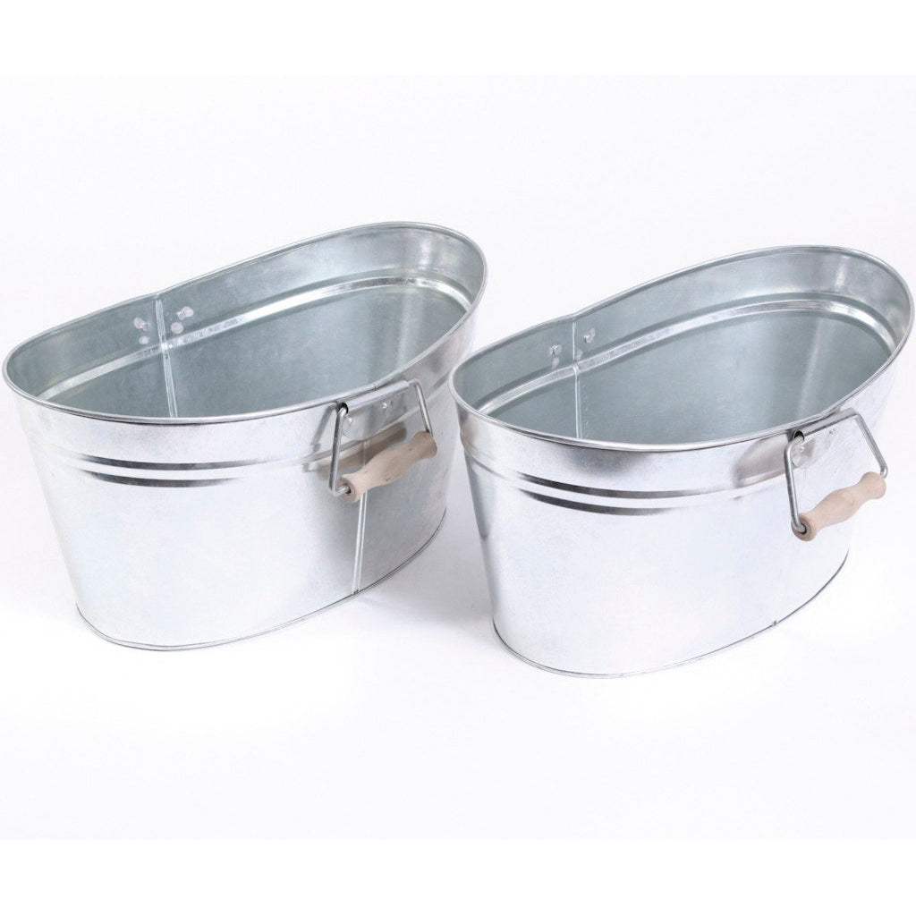 Small Oval Galvanized Tubs with Wooden Handles