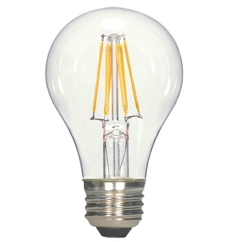 6.5W 120V A19 LED Filament Bulb - Pack of 6