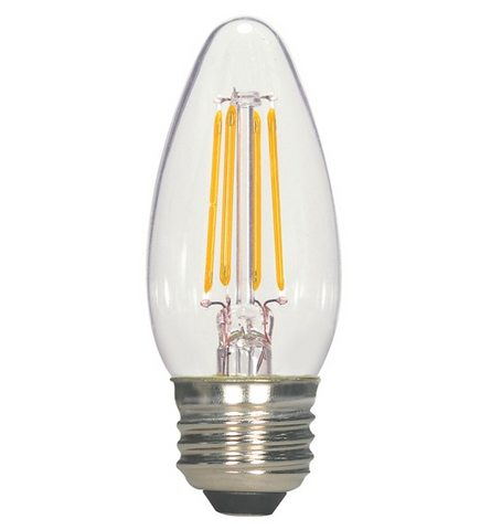 4.5W 120V C11 LED Filament Candle Bulb - Pack of 6