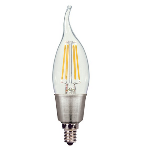 4.5W 120V CA11 LED Filament Candle Bulb, E12 base - Pack of 6