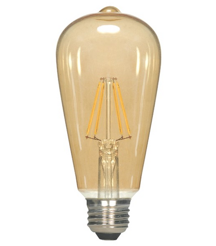 6.5W 120V ST19 Vintage LED Filament Bulb - Pack of 6