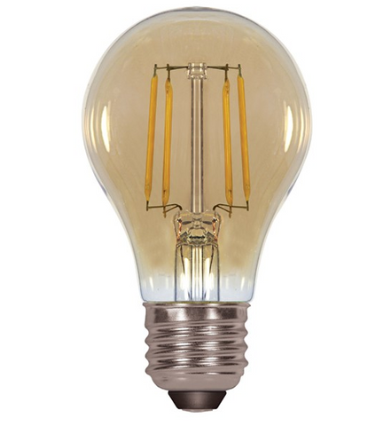 4.5W 120V A19 Vintage LED Filament Bulb - Pack of 6