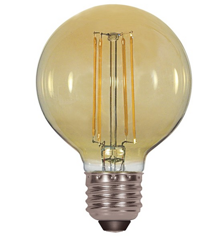 4.5W 120V G25 Vintage LED Filament Bulb - Pack of 6