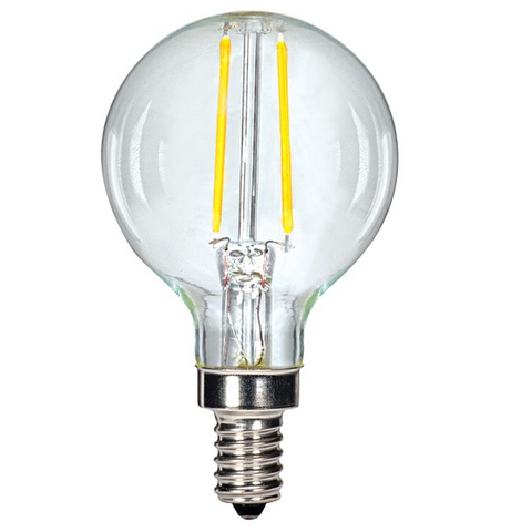 2.5W 120V G16.5 LED Filament Bulb, E12 base - Pack of 6