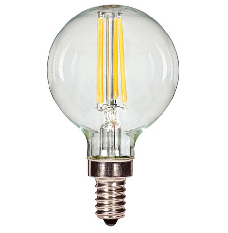 3.5W 120V G16.5 LED Filament Bulb, E12 base - Pack of 6