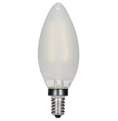 3.5W 120V C11 LED Filament Candle Bulb, E12 base - Pack of 6