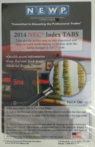 2014 National Electrical Code Index Tabs