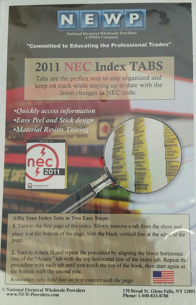 NFPA 70: National Electrical Code (NEC) or Handbook Tabs, 2011 Edition