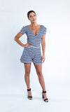 short sleeve romper jumper striped - Miss Jumpin
