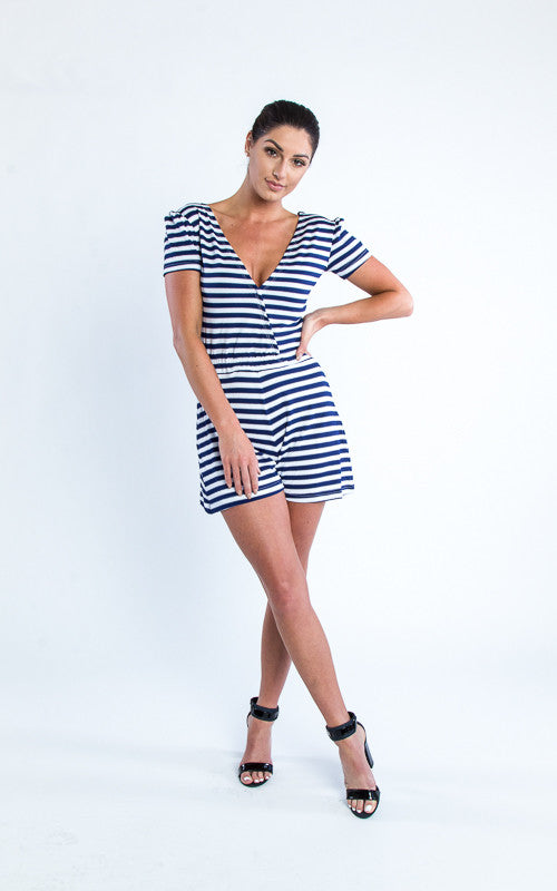 v-neck striped jumper romper - Miss Jumpin