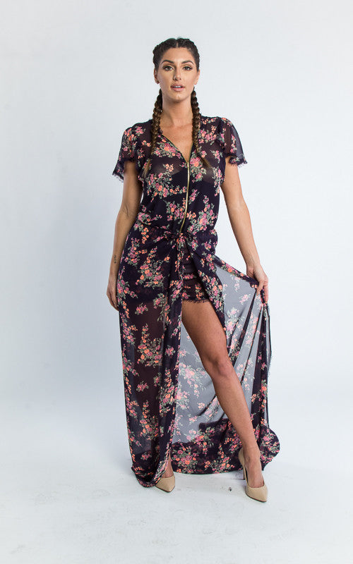 floral jumper with butterfly sleeves and train romper - Miss Jumpin
