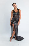 sleeveless slit skirt black sheer dress jumpsuit - Miss Jumpin