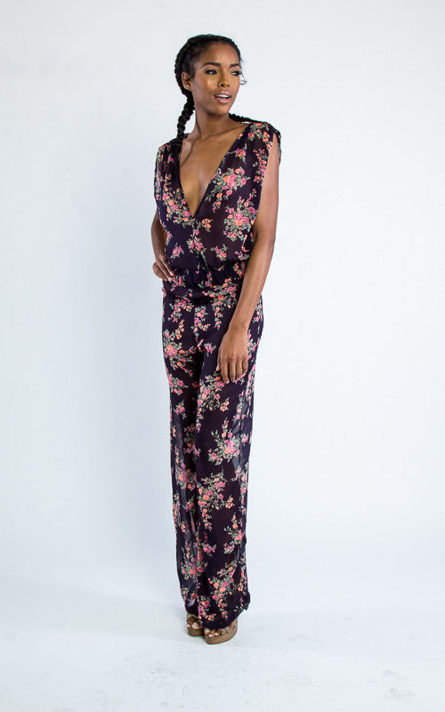 sleeveless floral v-neck jumpsuit - Miss Jumpin