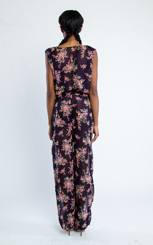 floral chiffon jumpsuit sleeveless  - Miss Jumpin