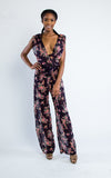floral v-neck sleeveless jumpsuit - Miss Jumpin