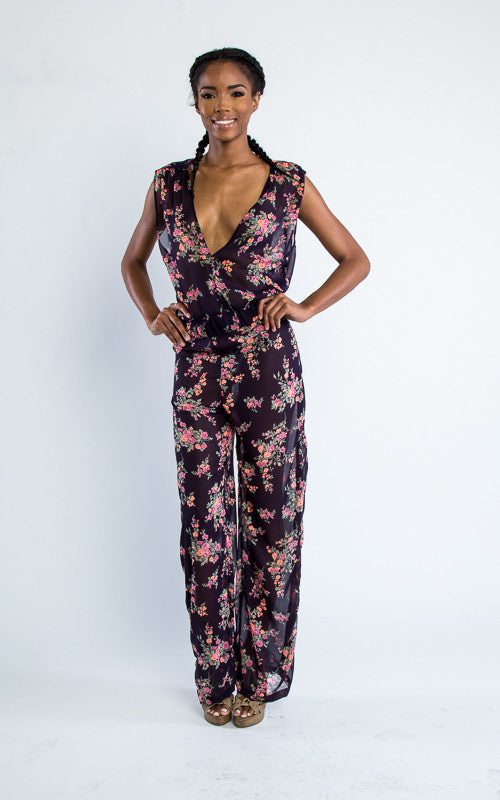 sleeveless floral chiffon jumpsuit - Miss Jumpin