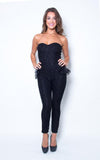 black lacy jumpsuit with peplum - Miss Jumpin