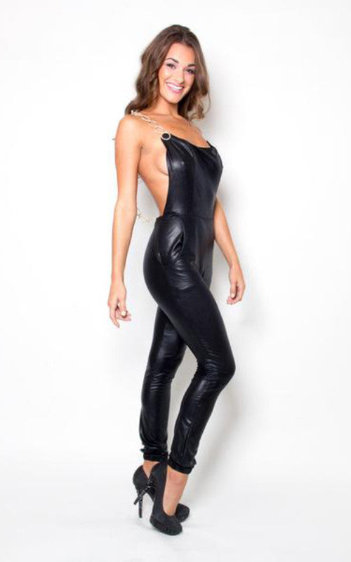 sleeveless faux leather jumpsuit - Miss Jumpin
