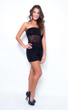 black dress semi sheer lace romper jumper - Miss Jumpin