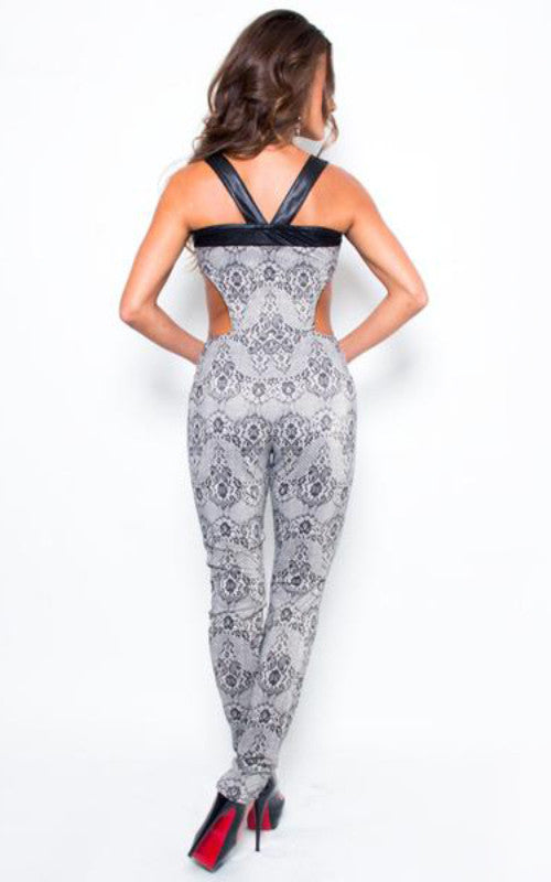 cutout sides grey jumpsuit - Miss Jumpin