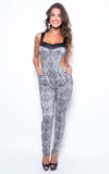 bodycon grey jumpsuit - Miss Jumpin