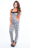 printed grey bodycon jumpsuit - Miss Jumpin