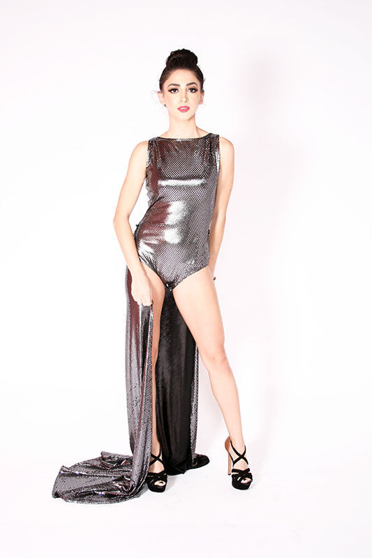 metallic silver party jumpsuit dress - Miss Jumpin