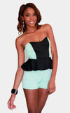 color block peplum romper jumper - Miss Jumpin