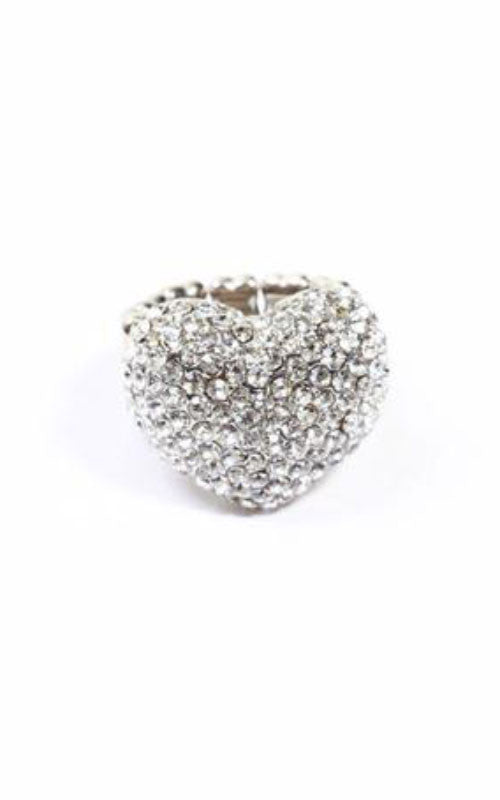 rhinestone silver studded Heart Ring - Miss Jumpin