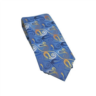 Sky Blue & Gold Paisley Woven Tie With Matching Pocket Square