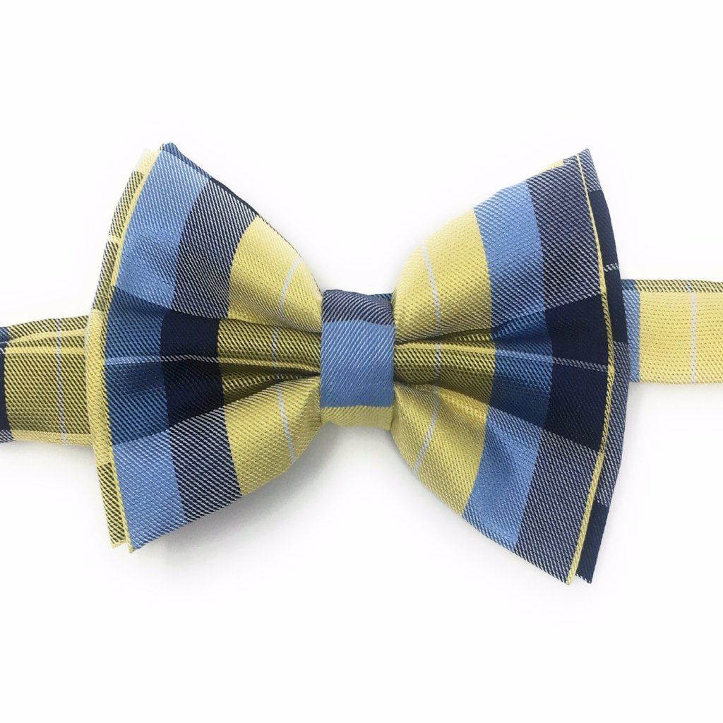 Navy, Light Blue, Yellow & Olive Pre Tied Silk Bow Tie Set