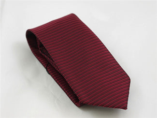 Horizontal Stripe Red Wine Tie & Pocket Square - Tie Factory