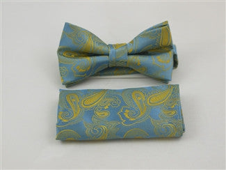 Pre Tied Bow Tie With Matching Pocket Square
