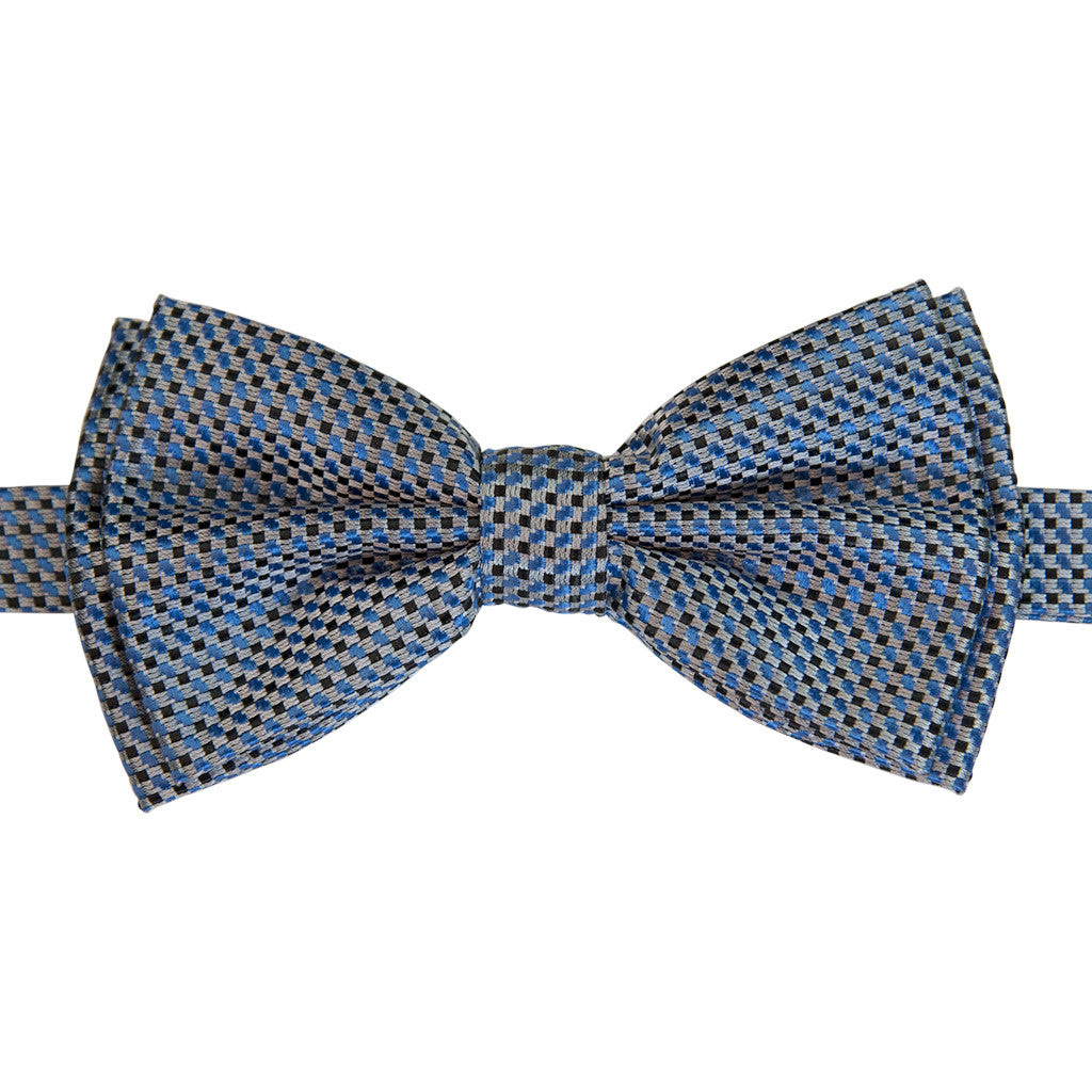 Weave Blue Pre Tied Silk Bow Tie Set Including Pocket Square