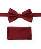 Burgundy Micro Grid Silk Pre-Tied Bow Tie With Matching Pocket Square