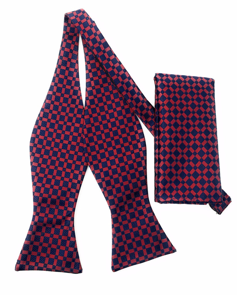 Navy & Red Squares Self Tie Silk Bow Tie With Matching Pocket Square