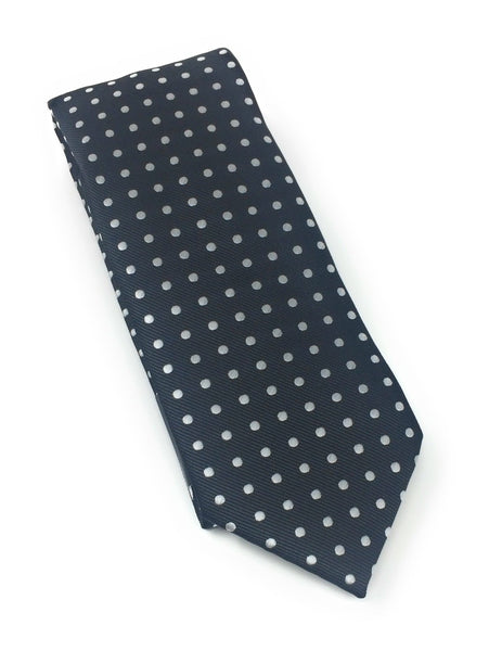 Black with Silver Dotted Silk Tie With Matching Pocket Square