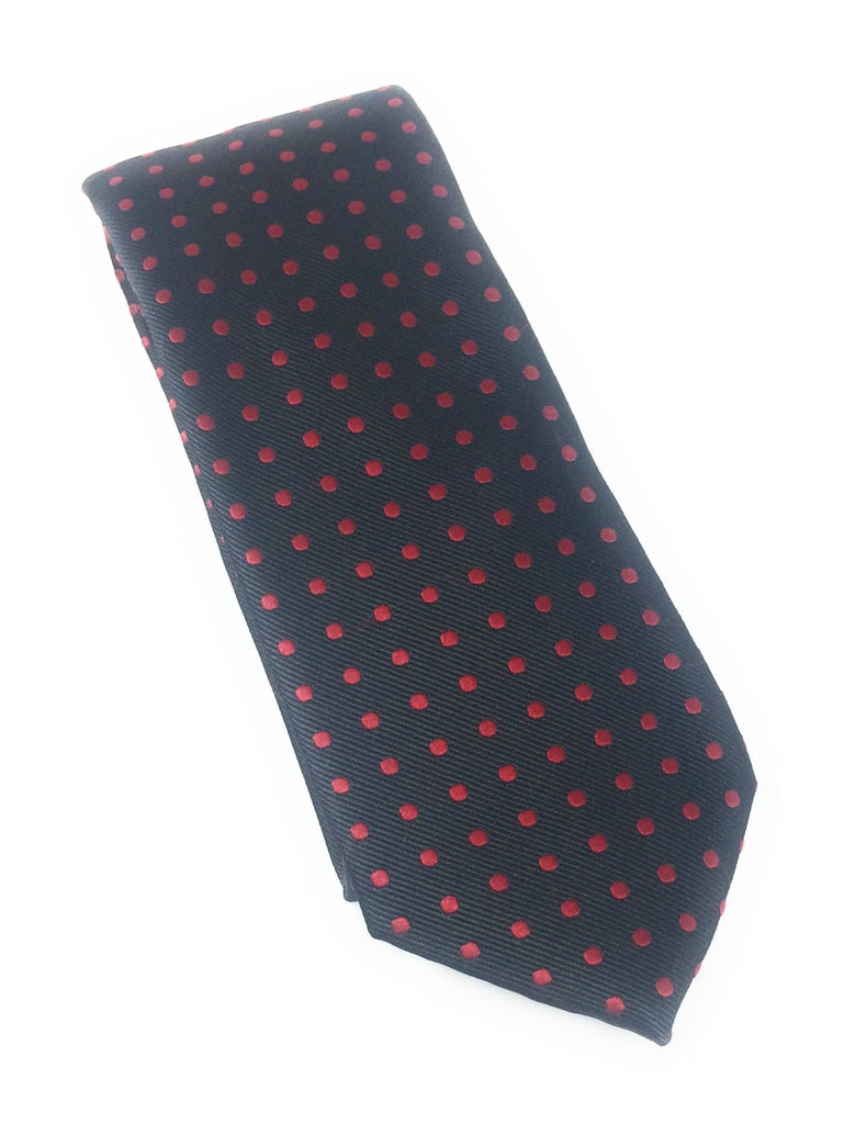 Black with Red Dotted Silk Tie With Matching Pocket Square