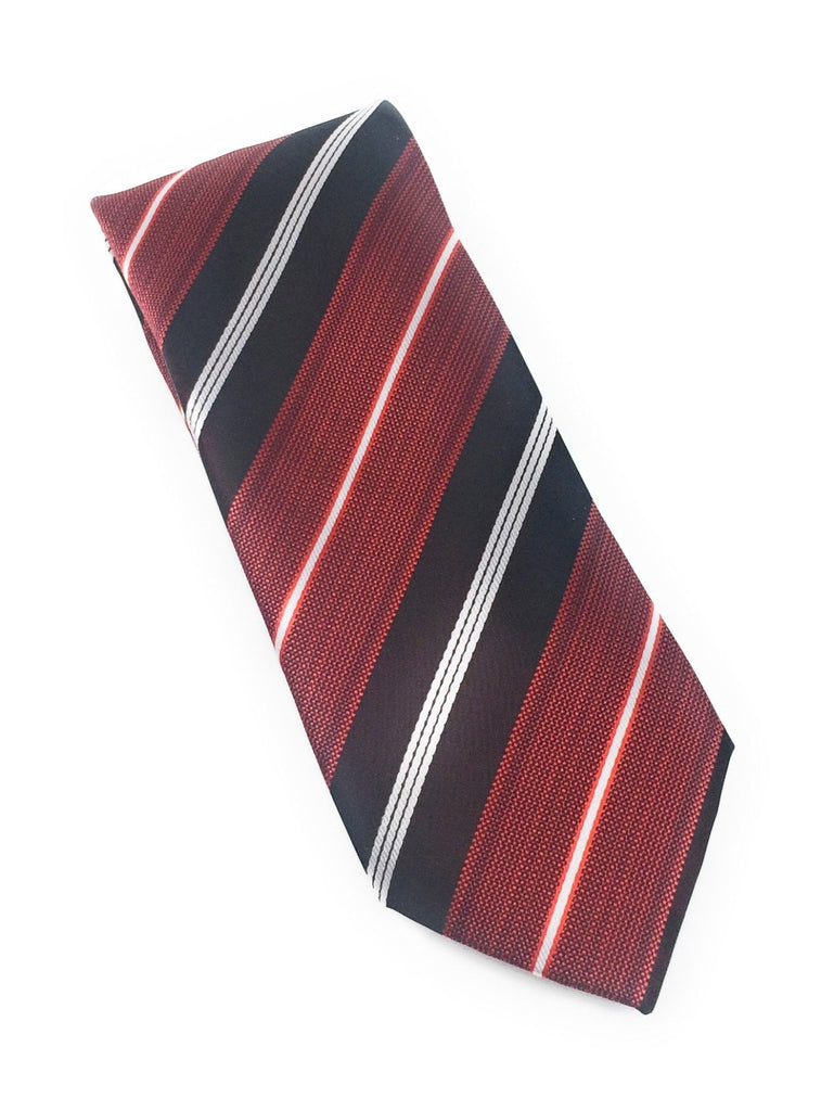Red & Black Stripe Silk Tie With Matching Pocket Square