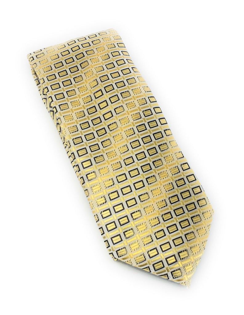 Gold & Light Brown Abstract Gold Squares Tie Set