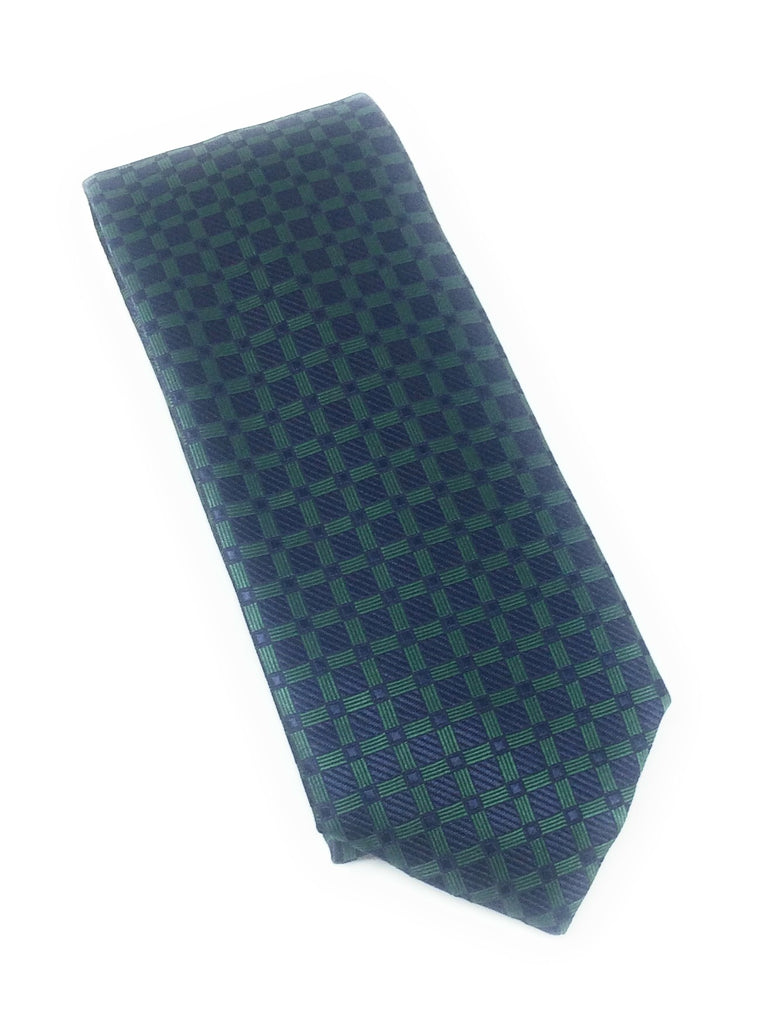 Navy & Green Squares Silk Tie With Matching Pocket Square