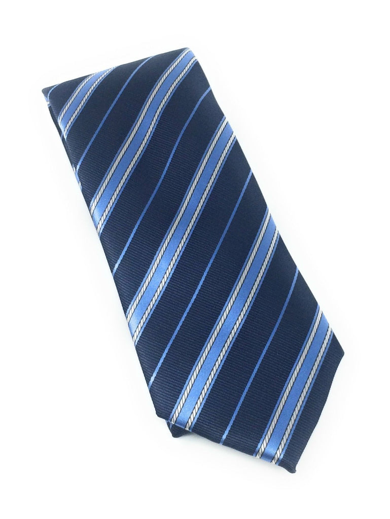 Navy & Sky Blue Regal Silk Tie Set Including Pocket Square
